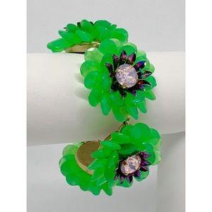 J. Crew Green Flower Crystal Bracelet
